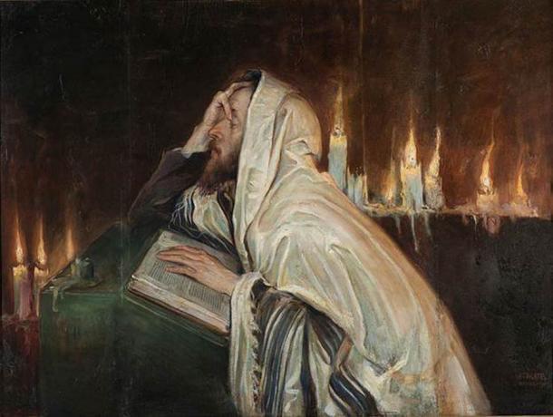 "A Jew participates in the Kol Nidre prayer on the Eve of Yom Kippur; ""Kol Nidre"", by Wilhelm Wachtel, circa 1900. (Public Domain)"