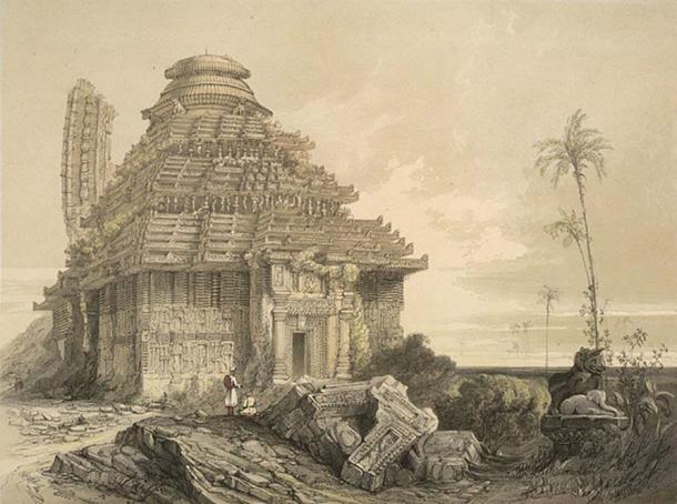 1847 depiction of the Konark Sun Temple.
