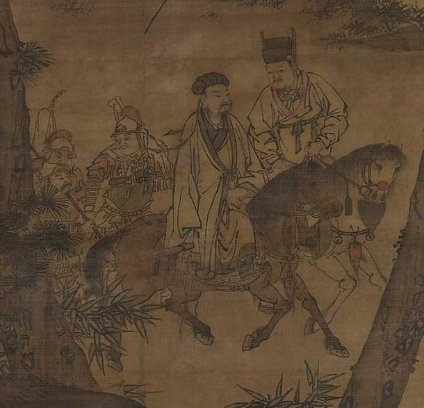 The painting 'Kongming Leaving the Mountains' (detail), depicting Zhuge Liang leaving his rustic retreat to enter into the service of Liu Bei (both seen on horses). (Public Domain)