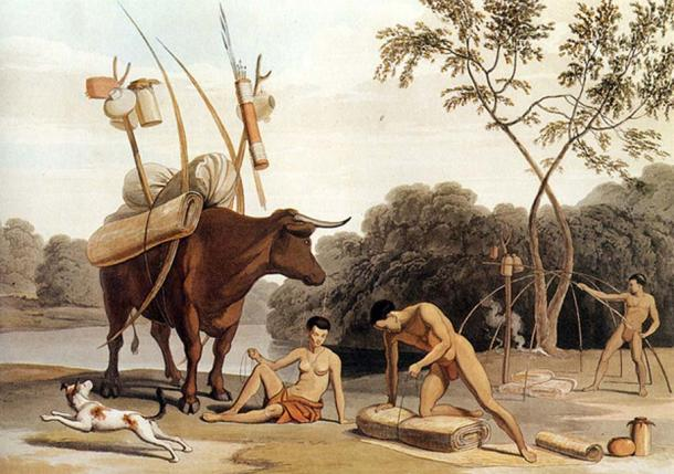 Korah-Khoikhoi dismantling their huts, preparing to move to new pastures. Aquatint by Samuel Daniell. 1805.