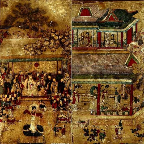 Korean Joseon Dynasty painting called 'Toseokhwa' (도석화), paintings of Buddhist and Taoist themes, King Mu of Zhou visits the queen mother of the west. (CC BY SA 4.0)