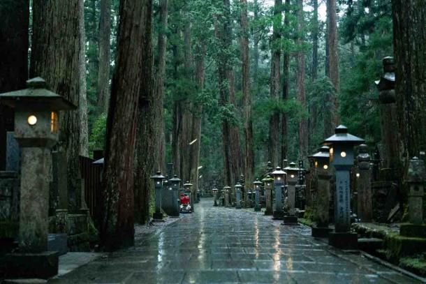 The famous Koyasan cemetery leading to the grave of Kukai or Kobo Daishi, founder of the imperial Shingon Buddhist sect, on Mount Koya. (Claude Jin / Adobe Stock)