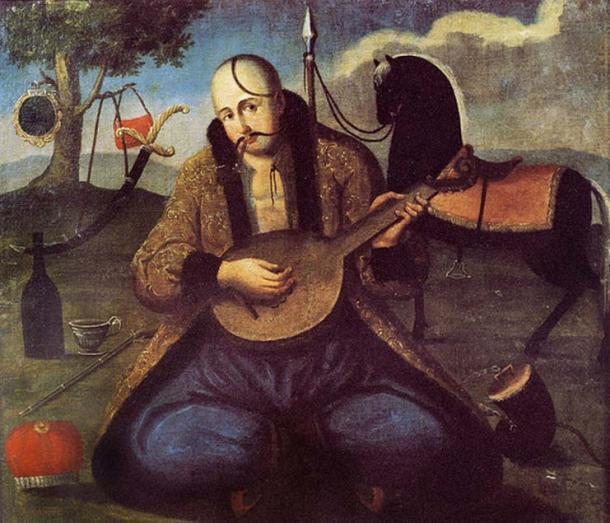 Kozak Mamay on an old Ukrainian painting, early 19th century. (Public Domain)