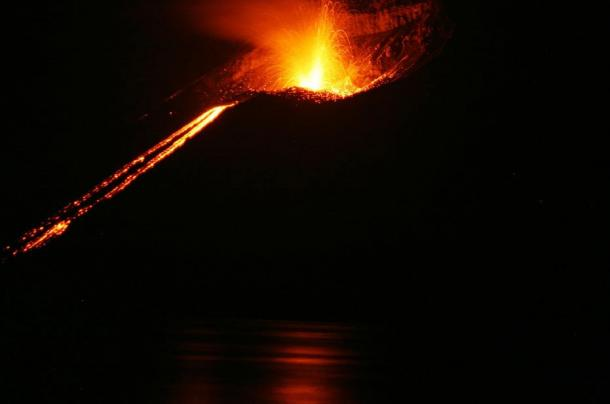 A small eruption on Krakatoa in 2008.