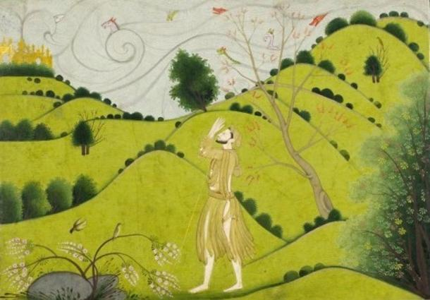 Krishna's childhood friend Sudama praising Krishna's golden castle in Dvārakā. (1775-1790)