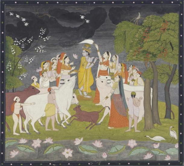 Krishna with cows, herdsmen and Gopis, Pahari painting [Himalayan] from Smithsonian Institution.