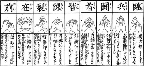"""Ku-ji """"nine symbolic cuts"""""""
