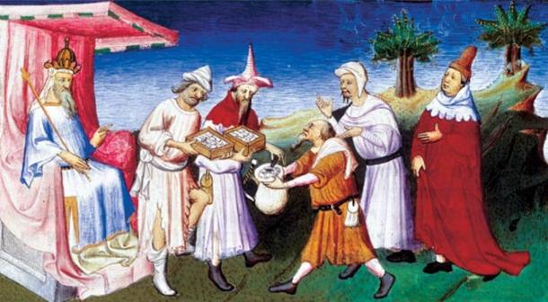 Kublai Khan gives financial support to the Polo family, and accepts gifts of the Venetians. Painting, Master of Busico, 1412.