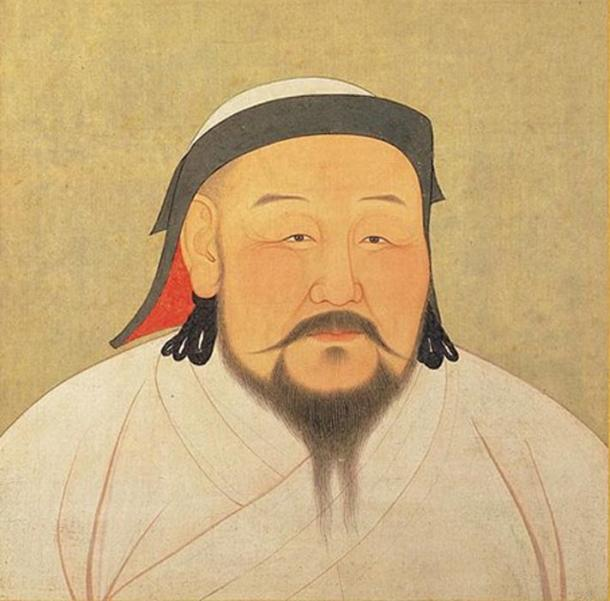 A painting of Kublai Khan, as he would have appeared in the 1260s. This is actually a posthumous that was made shortly after his death in February 1294, by a Nepalese artist and astronomer.