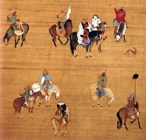 Painting of Kublai Khan on a hunting expedition, by Chinese court artist Liu Guandao, c. 1280.