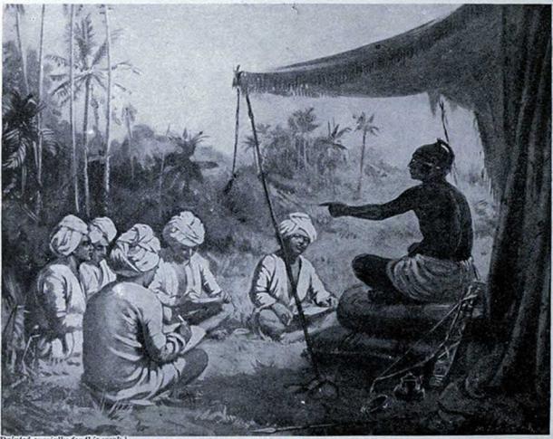 Kulothunga I Chola instructs the surveyors 1086 AD. (Public Domain)