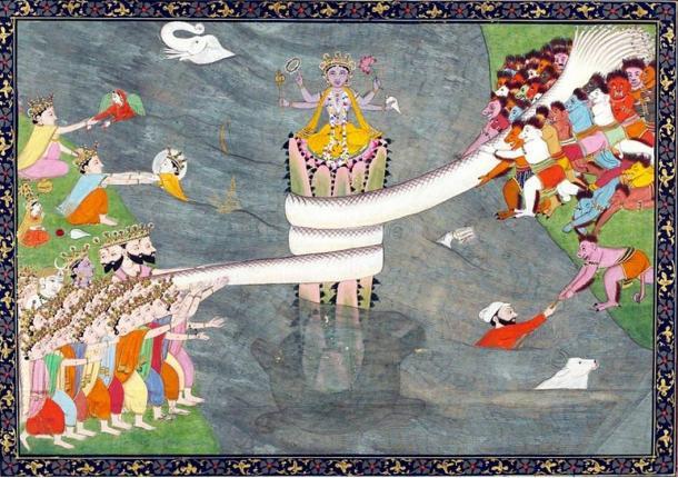 The myth of the 'Churning of the Sea of Milk': Kurma Avatar of Vishnu, below Mount Mandara, with Vasuki wrapped around it, during Samudra manthan, churning of the ocean of milk. ca 1870.