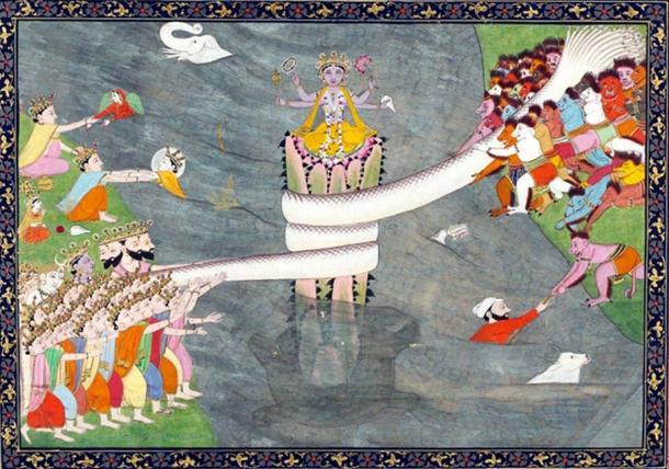 Kurma avatar of Vishnu, below Mount Mandara, with Vasuki wrapped around it, during Samudra manthan, the churning of the ocean of milk, ca 1870.