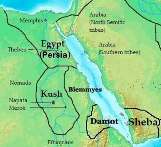 Location of Kush - Map of kingdoms, states and tribes in 400 BC Africa.