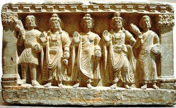Kushan art depicting a Kushan devotee, the Bodhisattva Maitreya, the Buddha, the Bodhisattva Avalokitesvara, and a Buddhist monk. 2nd-3rd century AD. Gandhara.