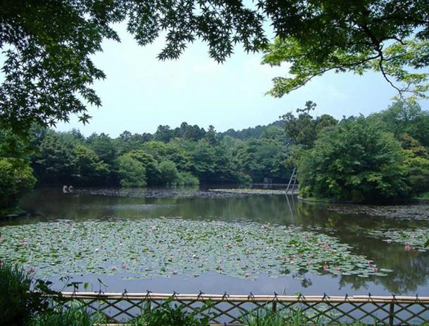 Kyoyochi Pond, created in the 12th century as a water garden.