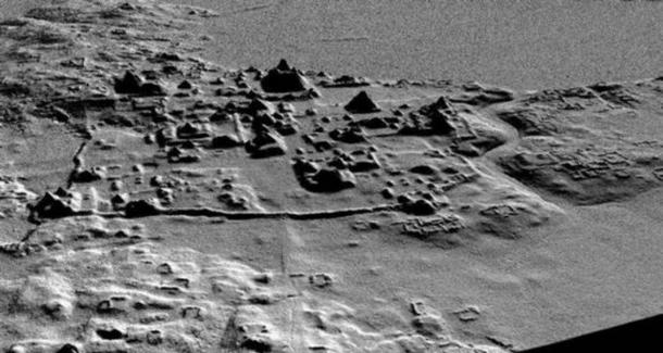 LIDAR scan reveals a network of roads, canals, corrals, pyramids, and terraces at El Mirador.