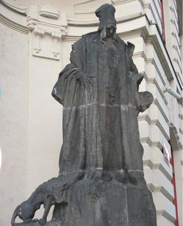 Ladislav Šaloun's statue popularly ascribed to Rabbi Judah Loew ben Bezalel at the new town hall of Prague in the Czech Republic.