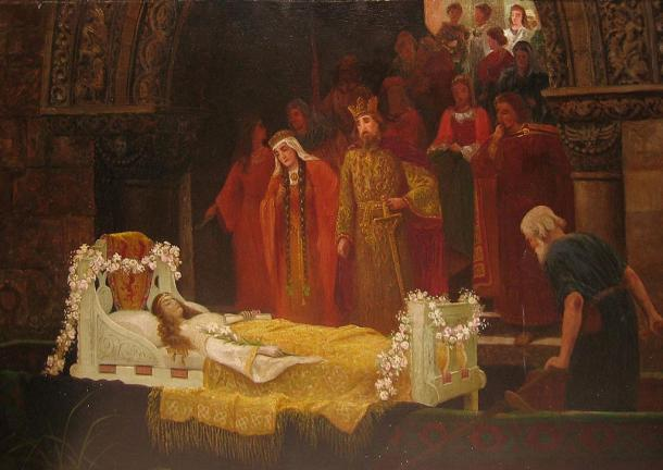 The Lady of Shalott reaches Camelot after being taken from the river, now deceased.