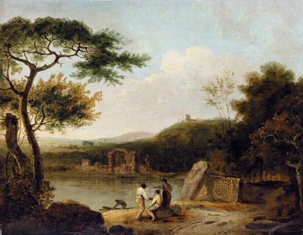 Lake Avernus, by Richard Wilson  (1713–1782) circa 1765, National Gallery of Victoria, Melbourne.(Public Domain).