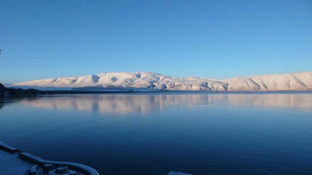 Lake Sevan in winter (Public Domain)