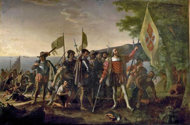 Landing of Columbus (12 October 1492) (Public Domain)