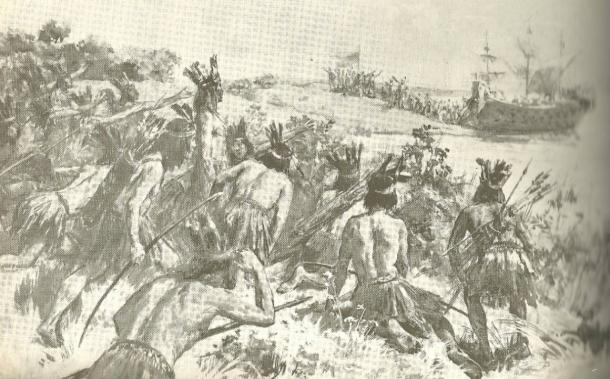 Landing of Juan Diaz de Solis on the shores of the Eastern Band (present Uruguay), stalked by the Charrúas, who would kill him soon after.