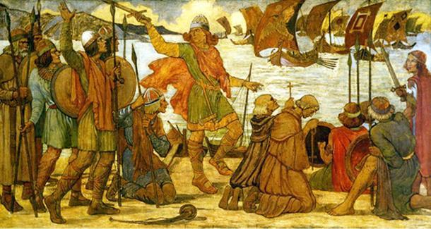 Landing of a Viking fleet at Dublin.