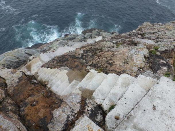 Landing steps on the southwest corner of Eilean Mor, Scotland.