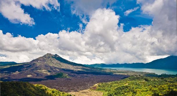 Landscape of Batur volcano on Skull Island, Bali. (Naughtynut / Adobe Stock)