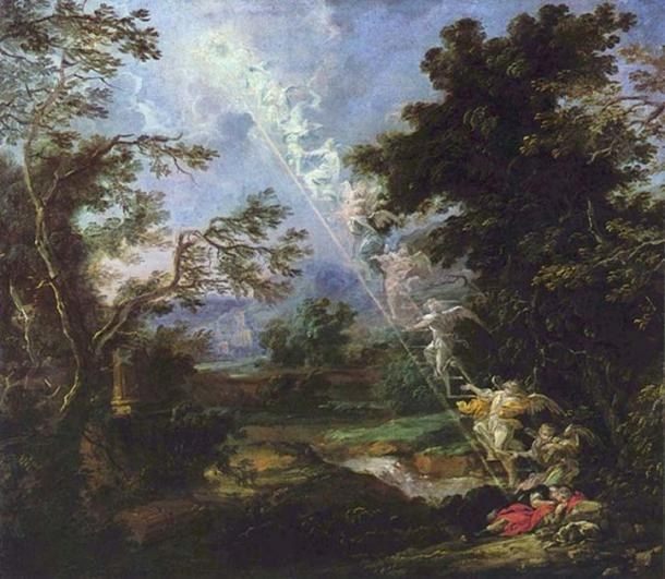 """Landscape with the Dream of Jacob"" showing the famous 'Jacob's Ladder' (circa 1691) by Michael Willmann."