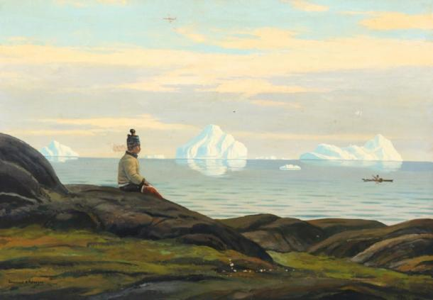 Landscape from Greenland with Inuit woman looking at the sea by Emanuel Petersen. (Public Domain)