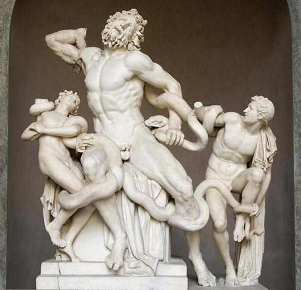 Laocoön and his sons, also known as the Laocoön Group. Marble, copy after a Hellenistic original from ca. 200 BC. Found in the Baths of Trajan, 1506.