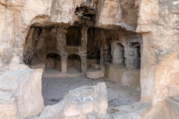 Large complex at Tombs of the Kings containing numerous single chamber burial spaces cut into the rock.