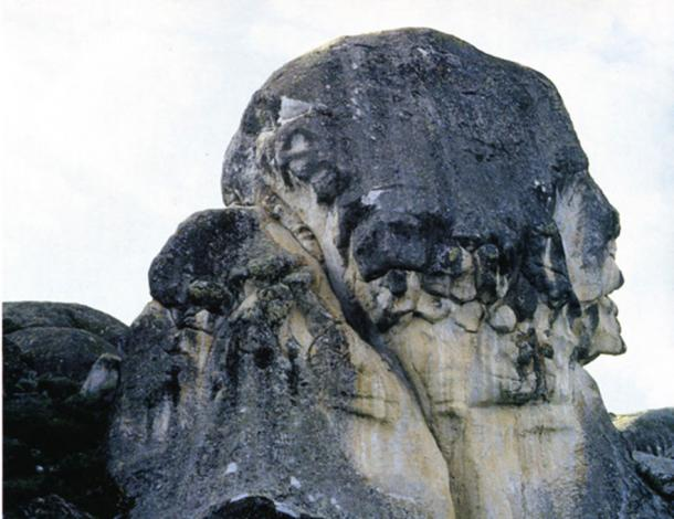 Large rock with the form of a human face, possibly a natural formation, Marcahuasi
