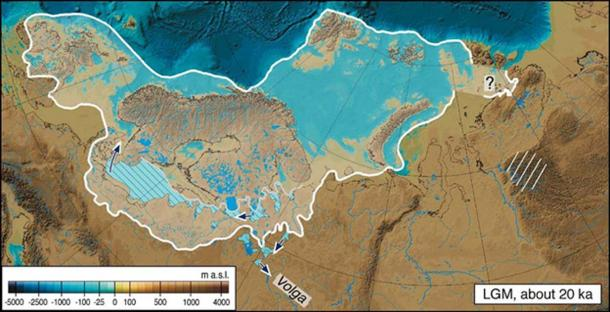 The extent of the Last Glacial Maximum in Eurasia.
