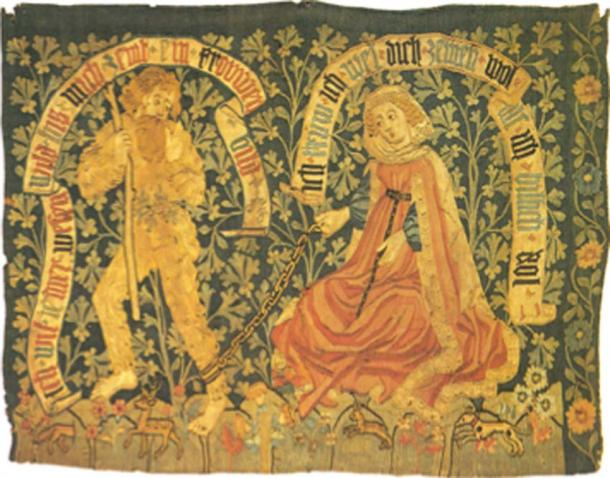Late 15th century tapestry showing a woodwose, wild man, being tamed by a virtuous lady. (Cherubino / Public Domain)