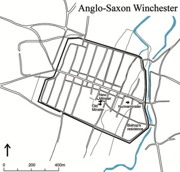 Late Anglo-Saxon Winchester showing the characteristic arrangement of streets and town defences often accredited to Alfred the Great. Author provided.