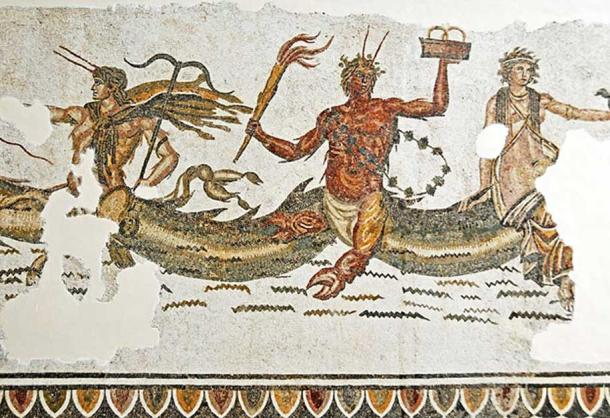 Late Roman mosaic from the Trajan Baths of Acholla, showing 3 aquatic deities: Phorcys (middle) and Ceto (right), and Triton or Thaumas (left, but maybe a more obscure sea-god). Bardo National Museum, Tunis. (CC BY-SA 2.0)