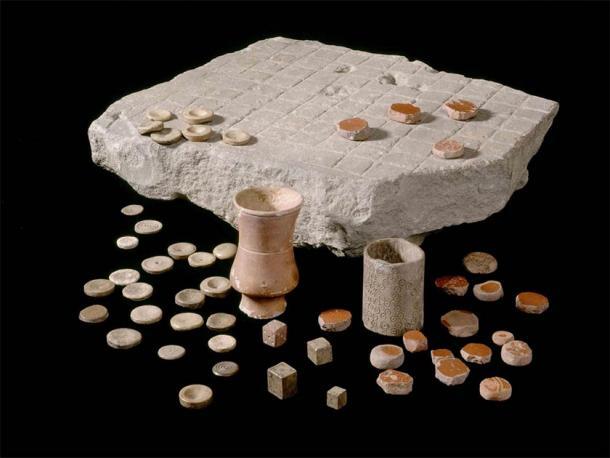 Version of Ludus Latrunculorum board game found at Housesteads Roman Fort or Roman Corbridge, 2nd-3rd century AD, kept at Corbridge Roman Town and Museum. (Image: English Heritage)