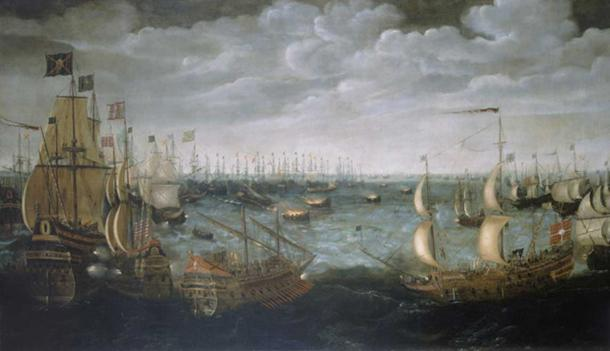 Launch of English fireships against the Spanish Armada, 7 August 1588. (Public Domain)