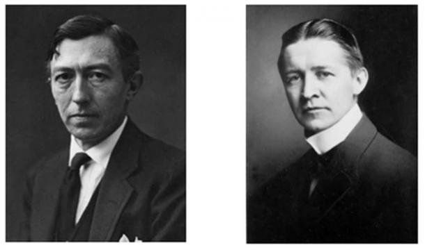 Left: Lee Lawrie. Right: Bertram Grosvenor Goodhue. Together they designed several monumental buildings cross the USA, most famously the Rockefeller Memorial Chapel and the Los Angeles Public Library.