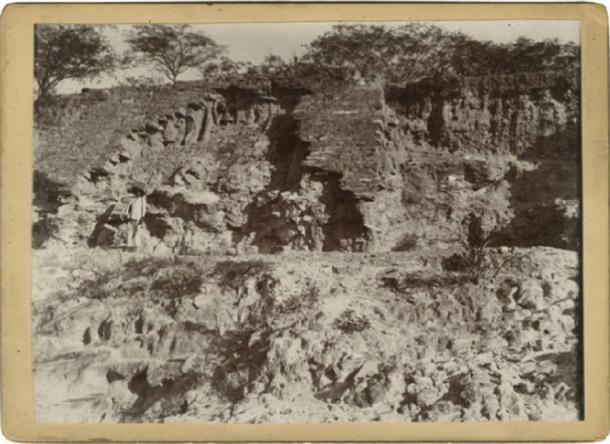 One of very few pictures of the ruins discovered by Niven at Omitlán shows a large temple platform built of small carved stone blocks (note person in the foreground for scale) Mediateca INAH