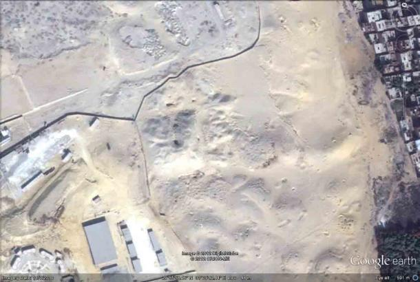 The Layer Pyramid is in an area designated a restricted military zone in 1970. (Google Earth / Alan Fides)