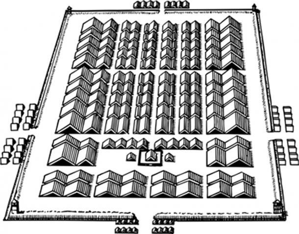 Layout of ancient Roman marching camp. (barbulat / Adobe)
