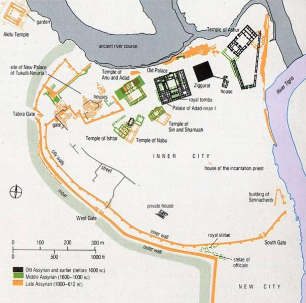Layout of the city of Assur throughout the centuries.