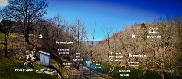 Layout of the petroglyphs at Gateposts, and an ancient trail along Sinking Creek.
