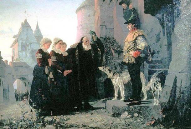 Vasily Polenov: Le droit du Seigneur (1874). A Victorian artist's painting of an old man bringing his young daughters to their feudal lord.