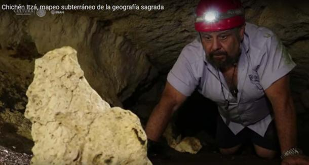 Lead archaeologist, Guillermo de Anda investigating one of the tunnels in the temple complex
