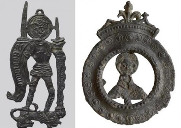 Lead badges such as these were purchased by pilgrims as mementos of holy sites they had visited. Originally there were loops at top and bottom for the pilgrim to sew the badges onto a hat or cloak.